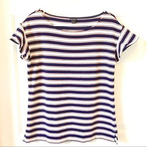 Ann Taylor | Navy, Pink and White Striped top